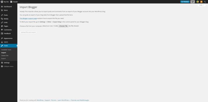 Blogger import screen